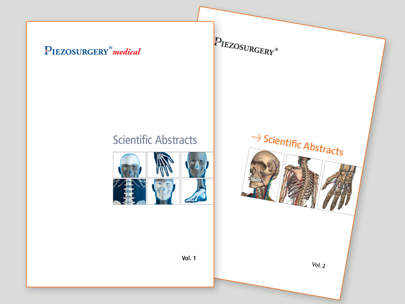 covers of mectron PIEZOSURGERY® medical abstract books, Volume 1 and Volume 2